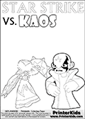 Fantasy kids activity and coloring page with Star Strike and Kaos. In this kids printable sheet for coloring, Kaos is drawn with his arms bent to his sides looking really upset. Kaos is looking almost like a little child that is about to get really really -beep-! The coloring sheet was designed to make it easier for kids to make small mini stories of their own with the Star Strike skylander and Kaos. Online and printable coloring page with  lightcore STAR STRIKE that has rays of light from the eyes.  Print and color this Skylanders Swap Force STAR STRIKE coloring sheet for kids that is drawn and made available by Loke Hansen (http://www.LokeHansen.com) based on an image from the Skylanders Swap Force PS3 game with Lightcore Star Strike figure in action. This version of the kids printable sheet has the light from Star Strikes eyes shown as white areas. This means that the rays remove the character lines where they are.
