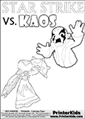 Inspirational adventure kick-starting kids coloring activity page with a scared looking Kaos and the Star Strike Skylander. The Kaos pose is based on one of the ending scenes in the Skylanders Swap Force game where a mountain of dark crystals are about to fall upon Kaos, but what adventure will your young Skylander fan be able to come up with? This printout colouring sheet has colorable text in addition to the two Skylanders figures for coloring! Online and printable coloring page with  lightcore STAR STRIKE that has rays of light from the eyes.  Print and color this Skylanders Swap Force STAR STRIKE coloring sheet for kids that is drawn and made available by Loke Hansen (http://www.LokeHansen.com) based on an image from the Skylanders Swap Force PS3 game with Lightcore Star Strike figure in action. This version of the kids printable sheet has the light from Star Strikes eyes shown as white areas. This means that the rays remove the character lines where they are.