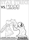 Activity page with Kaos and Star Strike from Skylanders Swap Force. In this kids coloring page with colorable text and figures, Kaos is drawn with one hand out in front of him as if gesturing to Star Strike - BRING IT ON! Online and printable coloring page with  lightcore STAR STRIKE that has rays of light from the eyes.  Print and color this Skylanders Swap Force STAR STRIKE coloring sheet for kids that is drawn and made available by Loke Hansen (http://www.LokeHansen.com) based on an image from the Skylanders Swap Force PS3 game with Lightcore Star Strike figure in action. This version of the kids printable sheet has the light from Star Strikes eyes shown as white areas. This means that the rays remove the character lines where they are.
