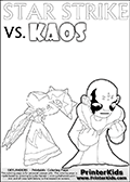 Colouring sheet with a clearly annoyed KAOS and Star Strike. Online and printable coloring page with  lightcore STAR STRIKE that has rays of light from the eyes.  Print and color this Skylanders Swap Force STAR STRIKE coloring sheet for kids that is drawn and made available by Loke Hansen (http://www.LokeHansen.com) based on an image from the Skylanders Swap Force PS3 game with Lightcore Star Strike figure in action. This version of the kids printable sheet has the light from Star Strikes eyes shown as white areas. This means that the rays remove the character lines where they are.