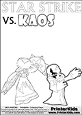 Activity page for young Skylanders Swap Force fans with colorable figures and letters. This kids colouring sheet show Kaos drawn as if he is showing off. Perhaps he is telling about his newest evil idea or showing a magical beast he got his hands on! Online and printable coloring page with  lightcore STAR STRIKE that has rays of light from the eyes.  Print and color this Skylanders Swap Force STAR STRIKE coloring sheet for kids that is drawn and made available by Loke Hansen (http://www.LokeHansen.com) based on an image from the Skylanders Swap Force PS3 game with Lightcore Star Strike figure in action. This version of the kids printable sheet has the light from Star Strikes eyes shown as white areas. This means that the rays remove the character lines where they are.