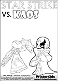 Activity page for kids with coloring figures and letters. Kaos is drawn almost sneaking away from the scene in this colouring sheet with Star Strike. But why? Draw the rest of the story if you are up for the challenge!Online and printable coloring page with  lightcore STAR STRIKE that has rays of light from the eyes.  Print and color this Skylanders Swap Force STAR STRIKE coloring sheet for kids that is drawn and made available by Loke Hansen (http://www.LokeHansen.com) based on an image from the Skylanders Swap Force PS3 game with Lightcore Star Strike figure in action. This version of the kids printable sheet has the light from Star Strikes eyes shown as white areas. This means that the rays remove the character lines where they are.