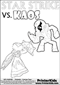 Coloring activity page with Kaos drawn with legs! This kids colouring sheet has a drawing of Kaos with Glumshanks legs as he is shown at te very end of the Skylanders Swap Force Game in a cut scene. The coloring page also show the Star Strike skylander and has colorable texts! Online and printable coloring page with  lightcore STAR STRIKE that has rays of light from the eyes.  Print and color this Skylanders Swap Force STAR STRIKE coloring sheet for kids that is drawn and made available by Loke Hansen (http://www.LokeHansen.com) based on an image from the Skylanders Swap Force PS3 game with Lightcore Star Strike figure in action. This version of the kids printable sheet has the light from Star Strikes eyes shown as white areas. This means that the rays remove the character lines where they are.