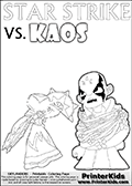 Kids activity page with a colouring picture of Kaos trapped and entangled in branches, leaves and flower. The Kaos illustration is drawn based on a cut scene in the Skylanders Swap Force game. It looks as if this is the end for Kaos, and Star Strike is there to ensure it... But if you have completed the game then you know how this all ends... Perhaps your young Skylanders Swap Force fan has another adventure in mind from this point on? Use this kids activity page with colorable text and figures as inspiration for your very own adventure! Online and printable coloring page with  lightcore STAR STRIKE that has rays of light from the eyes.  Print and color this Skylanders Swap Force STAR STRIKE coloring sheet for kids that is drawn and made available by Loke Hansen (http://www.LokeHansen.com) based on an image from the Skylanders Swap Force PS3 game with Lightcore Star Strike figure in action. This version of the kids printable sheet has the light from Star Strikes eyes shown as white areas. This means that the rays remove the character lines where they are.