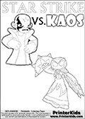 Skylanders Swap Force - STAR STRIKE EYE GLOW  VS. UPSET KAOS - Coloring Page