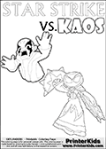 Inspirational adventure kick-starting kids coloring activity page with a scared looking Kaos and the Star Strike Skylander. The Kaos pose is based on one of the ending scenes in the Skylanders Swap Force game where a mountain of dark crystals are about to fall upon Kaos, but what adventure will your young Skylander fan be able to come up with? This printout colouring sheet has colorable text in addition to the two Skylanders figures for coloring! Online and printable coloring page with  STAR STRIKE  from Skylanders Swap Force.  Print and color this Skylanders Swap Force STAR STRIKE coloring sheet for kids that is drawn and made available by Loke Hansen (http://www.LokeHansen.com) based on an image from the Skylanders Swap Force PS3 game with another variant of the Star Strike character.