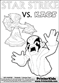 Inspirational adventure kick-starting kids coloring activity page with a scared looking Kaos and the Star Strike Skylander. The Kaos pose is based on one of the ending scenes in the Skylanders Swap Force game where a mountain of dark crystals are about to fall upon Kaos, but what adventure will your young Skylander fan be able to come up with? This printout colouring sheet has colorable text in addition to the two Skylanders figures for coloring! Skylanders coloring page with  STAR STRIKE drawn from the side while turning around with her weapons (one in each hand).  Print and color this Skylanders Swap Force STAR STRIKE coloring sheet for kids that is drawn and made available by Loke Hansen (http://www.LokeHansen.com) based on an image from the Skylanders Swap Force PS3 game.