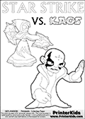 Activity page with Kaos and Star Strike from Skylanders Swap Force. In this kids coloring page with colorable text and figures, Kaos is drawn with one hand out in front of him as if gesturing to Star Strike - BRING IT ON! Skylanders coloring page with  STAR STRIKE drawn from the side while turning around with her weapons (one in each hand).  Print and color this Skylanders Swap Force STAR STRIKE coloring sheet for kids that is drawn and made available by Loke Hansen (http://www.LokeHansen.com) based on an image from the Skylanders Swap Force PS3 game.