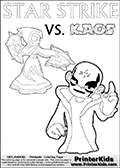 Activity page for Skylanders Swap Force fans with coloring figures and letters. This colouring sheet show Kaos with a finger pointing straight up in the air as if he just got an evil idea. But Star Strike will surely have another idea about how things will turn out. Draw your own adventure based on the colorable figures! Skylanders coloring page with  STAR STRIKE drawn from the side while turning around with her weapons (one in each hand).  Print and color this Skylanders Swap Force STAR STRIKE coloring sheet for kids that is drawn and made available by Loke Hansen (http://www.LokeHansen.com) based on an image from the Skylanders Swap Force PS3 game.