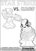 Kids activity page with a colouring picture of Kaos trapped and entangled in branches, leaves and flower. The Kaos illustration is drawn based on a cut scene in the Skylanders Swap Force game. It looks as if this is the end for Kaos, and Star Strike is there to ensure it... But if you have completed the game then you know how this all ends... Perhaps your young Skylanders Swap Force fan has another adventure in mind from this point on? Use this kids activity page with colorable text and figures as inspiration for your very own adventure! Skylanders coloring page with  STAR STRIKE drawn from the side while turning around with her weapons (one in each hand).  Print and color this Skylanders Swap Force STAR STRIKE coloring sheet for kids that is drawn and made available by Loke Hansen (http://www.LokeHansen.com) based on an image from the Skylanders Swap Force PS3 game.