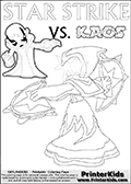Colorable Skylanders Swap Force inspiration activity page with the magic element skylander Star Strike and the main villain called Kaos. Kaos is drawn slightly bent with an arm stretched out as if he is about to unleash some type of evil magic. There is hope though! The Skylander is there as well! What adventure will your young Skylanders Swap Force Fan be able to come up with based on these settings? Lightcore printable kids sheet with a colorable Light Core varaint of the Start Strike Skylanders Swap Force figure. Star Strike is drawn with glowing eyes while turning around holding a weapon in each hand. Print and color this Skylanders Swap Force STAR STRIKE coloring sheet for kids that is drawn and made available by Loke Hansen (http://www.LokeHansen.com) based on an image from the Skylanders Swap Force PS3 game.