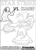Activity page with Kaos and Star Strike from Skylanders Swap Force. In this kids coloring page with colorable text and figures, Kaos is drawn with one hand out in front of him as if gesturing to Star Strike - BRING IT ON! Lightcore printable kids sheet with a colorable Light Core varaint of the Start Strike Skylanders Swap Force figure. Star Strike is drawn with glowing eyes while turning around holding a weapon in each hand. Print and color this Skylanders Swap Force STAR STRIKE coloring sheet for kids that is drawn and made available by Loke Hansen (http://www.LokeHansen.com) based on an image from the Skylanders Swap Force PS3 game.