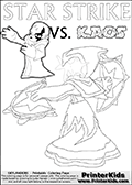 Activity page for young Skylanders Swap Force fans with colorable figures and letters. This kids colouring sheet show Kaos drawn as if he is showing off. Perhaps he is telling about his newest evil idea or showing a magical beast he got his hands on! Lightcore printable kids sheet with a colorable Light Core varaint of the Start Strike Skylanders Swap Force figure. Star Strike is drawn with glowing eyes while turning around holding a weapon in each hand. Print and color this Skylanders Swap Force STAR STRIKE coloring sheet for kids that is drawn and made available by Loke Hansen (http://www.LokeHansen.com) based on an image from the Skylanders Swap Force PS3 game.