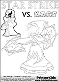 Activity page for kids with coloring figures and letters. Kaos is drawn almost sneaking away from the scene in this colouring sheet with Star Strike. But why? Draw the rest of the story if you are up for the challenge! Lightcore printable kids sheet with a colorable Light Core varaint of the Start Strike Skylanders Swap Force figure. Star Strike is drawn with glowing eyes while turning around holding a weapon in each hand. Print and color this Skylanders Swap Force STAR STRIKE coloring sheet for kids that is drawn and made available by Loke Hansen (http://www.LokeHansen.com) based on an image from the Skylanders Swap Force PS3 game.