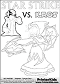 Colouring sheet for kids with a drawing picture of Kaos in a pose where it looks as if he is swearing revenge on the Star Strike Skylander. Lightcore printable kids sheet with a colorable Light Core varaint of the Start Strike Skylanders Swap Force figure. Star Strike is drawn with glowing eyes while turning around holding a weapon in each hand. Print and color this Skylanders Swap Force STAR STRIKE coloring sheet for kids that is drawn and made available by Loke Hansen (http://www.LokeHansen.com) based on an image from the Skylanders Swap Force PS3 game.