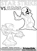 Activity page with Kaos and Star Strike from Skylanders Swap Force. In this kids coloring page with colorable text and figures, Kaos is drawn with one hand out in front of him as if gesturing to Star Strike - BRING IT ON! Coloring page for printing or coloring online with a Light Core Star Strike figure with glowing eys. The kids printable is designed with a thick outer line to make the coloring page as easy to enjoy as possible for the youngest Syklanders Swap Force fans! Print and color this Skylanders Swap Force STAR STRIKE coloring sheet for kids that is drawn and made available by Loke Hansen (http://www.LokeHansen.com) based on an image from the Skylanders Swap Force PS3 game.