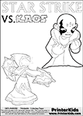 Colouring sheet with a clearly annoyed KAOS and Star Strike. Coloring page for printing or coloring online with a Light Core Star Strike figure with glowing eys. The kids printable is designed with a thick outer line to make the coloring page as easy to enjoy as possible for the youngest Syklanders Swap Force fans! Print and color this Skylanders Swap Force STAR STRIKE coloring sheet for kids that is drawn and made available by Loke Hansen (http://www.LokeHansen.com) based on an image from the Skylanders Swap Force PS3 game.
