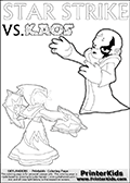 Activity page for young Skylanders Swap Force fans with colorable figures and letters. This kids colouring sheet show Kaos drawn as if he is showing off. Perhaps he is telling about his newest evil idea or showing a magical beast he got his hands on! Coloring page for printing or coloring online with a Light Core Star Strike figure with glowing eys. The kids printable is designed with a thick outer line to make the coloring page as easy to enjoy as possible for the youngest Syklanders Swap Force fans! Print and color this Skylanders Swap Force STAR STRIKE coloring sheet for kids that is drawn and made available by Loke Hansen (http://www.LokeHansen.com) based on an image from the Skylanders Swap Force PS3 game.