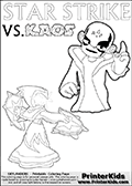 Activity page for Skylanders Swap Force fans with coloring figures and letters. This colouring sheet show Kaos with a finger pointing straight up in the air as if he just got an evil idea. But Star Strike will surely have another idea about how things will turn out. Draw your own adventure based on the colorable figures! Coloring page for printing or coloring online with a Light Core Star Strike figure with glowing eys. The kids printable is designed with a thick outer line to make the coloring page as easy to enjoy as possible for the youngest Syklanders Swap Force fans! Print and color this Skylanders Swap Force STAR STRIKE coloring sheet for kids that is drawn and made available by Loke Hansen (http://www.LokeHansen.com) based on an image from the Skylanders Swap Force PS3 game.