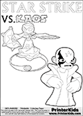 Fantasy kids activity and coloring page with Star Strike and Kaos. In this kids printable sheet for coloring, Kaos is drawn with his arms bent to his sides looking really upset. Kaos is looking almost like a little child that is about to get really really -beep-! The coloring sheet was designed to make it easier for kids to make small mini stories of their own with the Star Strike skylander and Kaos. Magical coloring page for printing or coloring online with a Star Strike figure surrounded by a magic circle. Print and color this Skylanders Swap Force STAR STRIKE coloring sheet for kids that is drawn and made available by Loke Hansen (http://www.LokeHansen.com) inspired by a screenshot from the Skylanders Swap Force PS3 game while playing with the Star Strike figure.