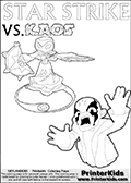 Inspirational adventure kick-starting kids coloring activity page with a scared looking Kaos and the Star Strike Skylander. The Kaos pose is based on one of the ending scenes in the Skylanders Swap Force game where a mountain of dark crystals are about to fall upon Kaos, but what adventure will your young Skylander fan be able to come up with? This printout colouring sheet has colorable text in addition to the two Skylanders figures for coloring! Magical coloring page for printing or coloring online with a Star Strike figure surrounded by a magic circle. Print and color this Skylanders Swap Force STAR STRIKE coloring sheet for kids that is drawn and made available by Loke Hansen (http://www.LokeHansen.com) inspired by a screenshot from the Skylanders Swap Force PS3 game while playing with the Star Strike figure.