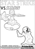 Activity page with Kaos and Star Strike from Skylanders Swap Force. In this kids coloring page with colorable text and figures, Kaos is drawn with one hand out in front of him as if gesturing to Star Strike - BRING IT ON! Magical coloring page for printing or coloring online with a Star Strike figure surrounded by a magic circle. Print and color this Skylanders Swap Force STAR STRIKE coloring sheet for kids that is drawn and made available by Loke Hansen (http://www.LokeHansen.com) inspired by a screenshot from the Skylanders Swap Force PS3 game while playing with the Star Strike figure.