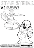 Colouring sheet with a clearly annoyed KAOS and Star Strike. Magical coloring page for printing or coloring online with a Star Strike figure surrounded by a magic circle. Print and color this Skylanders Swap Force STAR STRIKE coloring sheet for kids that is drawn and made available by Loke Hansen (http://www.LokeHansen.com) inspired by a screenshot from the Skylanders Swap Force PS3 game while playing with the Star Strike figure.