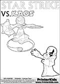 Activity page for young Skylanders Swap Force fans with colorable figures and letters. This kids colouring sheet show Kaos drawn as if he is showing off. Perhaps he is telling about his newest evil idea or showing a magical beast he got his hands on! Magical coloring page for printing or coloring online with a Star Strike figure surrounded by a magic circle. Print and color this Skylanders Swap Force STAR STRIKE coloring sheet for kids that is drawn and made available by Loke Hansen (http://www.LokeHansen.com) inspired by a screenshot from the Skylanders Swap Force PS3 game while playing with the Star Strike figure.