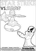 Colorable kids fan page with Kaos drawn as if he is lecturing Star Strike about something. He appear to be talking about something he finds important - but Star Strike will probably have a completely different idea! Great setup for a cool kids Skylander Adventure! Magical coloring page for printing or coloring online with a Star Strike figure surrounded by a magic circle. Print and color this Skylanders Swap Force STAR STRIKE coloring sheet for kids that is drawn and made available by Loke Hansen (http://www.LokeHansen.com) inspired by a screenshot from the Skylanders Swap Force PS3 game while playing with the Star Strike figure.