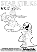 Activity page for kids with coloring figures and letters. Kaos is drawn almost sneaking away from the scene in this colouring sheet with Star Strike. But why? Draw the rest of the story if you are up for the challenge! Magical coloring page for printing or coloring online with a Star Strike figure surrounded by a magic circle. Print and color this Skylanders Swap Force STAR STRIKE coloring sheet for kids that is drawn and made available by Loke Hansen (http://www.LokeHansen.com) inspired by a screenshot from the Skylanders Swap Force PS3 game while playing with the Star Strike figure.