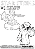 Activity page for Skylanders Swap Force fans with coloring figures and letters. This colouring sheet show Kaos with a finger pointing straight up in the air as if he just got an evil idea. But Star Strike will surely have another idea about how things will turn out. Draw your own adventure based on the colorable figures! Magical coloring page for printing or coloring online with a Star Strike figure surrounded by a magic circle. Print and color this Skylanders Swap Force STAR STRIKE coloring sheet for kids that is drawn and made available by Loke Hansen (http://www.LokeHansen.com) inspired by a screenshot from the Skylanders Swap Force PS3 game while playing with the Star Strike figure.