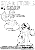 Colouring sheet for kids with a drawing picture of Kaos in a pose where it looks as if he is swearing revenge on the Star Strike Skylander. Magical coloring page for printing or coloring online with a Star Strike figure surrounded by a magic circle. Print and color this Skylanders Swap Force STAR STRIKE coloring sheet for kids that is drawn and made available by Loke Hansen (http://www.LokeHansen.com) inspired by a screenshot from the Skylanders Swap Force PS3 game while playing with the Star Strike figure.
