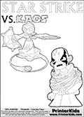 Kids activity page with a colouring picture of Kaos trapped and entangled in branches, leaves and flower. The Kaos illustration is drawn based on a cut scene in the Skylanders Swap Force game. It looks as if this is the end for Kaos, and Star Strike is there to ensure it... But if you have completed the game then you know how this all ends... Perhaps your young Skylanders Swap Force fan has another adventure in mind from this point on? Use this kids activity page with colorable text and figures as inspiration for your very own adventure! Magical coloring page for printing or coloring online with a Star Strike figure surrounded by a magic circle. Print and color this Skylanders Swap Force STAR STRIKE coloring sheet for kids that is drawn and made available by Loke Hansen (http://www.LokeHansen.com) inspired by a screenshot from the Skylanders Swap Force PS3 game while playing with the Star Strike figure.