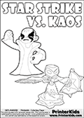 Inspirational coloring activity page with a triumphant looking Kaos and the popular Star Strike skylander figures - and colorable text! Kaos is drawn standing with an arm raised high with his hand formed as a fist. He is looking triumphant, happy or perhaps very confident! Make your own Skylanders adventure and add your story to the printout sheet. Coloring page for printing or coloring online with a Star Strike figure drawn from the front. The Star Strike figure is drawn attacking with a weapon in each hand. Print and color this Skylanders Swap Force STAR STRIKE coloring sheet for kids that is drawn and made available by Loke Hansen (http://www.LokeHansen.com) inspired by a screenshot from the Skylanders Swap Force PS3 game while playing with the Star Strike figure.