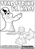 Colorable kids fan page with Kaos drawn as if he is lecturing Star Strike about something. He appear to be talking about something he finds important - but Star Strike will probably have a completely different idea! Great setup for a cool kids Skylander Adventure! Coloring page for printing or coloring online with a Star Strike figure drawn from the front. The Star Strike figure is drawn attacking with a weapon in each hand. Print and color this Skylanders Swap Force STAR STRIKE coloring sheet for kids that is drawn and made available by Loke Hansen (http://www.LokeHansen.com) inspired by a screenshot from the Skylanders Swap Force PS3 game while playing with the Star Strike figure.