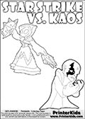 Activity page for kids with the Skylanders Swap Force main villain character KAOS and the magic element Skylander Star Strike. In this printout page for coloring (it can be colored online as well) Kaos is drawn with with both hands in front of his chest - with the fingers slightly bent. Kaos look as if he is frustrated, agry or annyoed. This kids activity page is ment to inspire creativity and make it easy for the yougest Skylanders Swap Force fans to make their own adventures with Star Strike and Kaos. The colouring sheet has room for drawings around / between Kaos and the Star Strike Skylander. Why is Kaos looking so frustrated on this apage? Did the Skylander Star Strike just rauin one of his evil plans? Is Kaos evel looking frustrated, perhaps he just came up with a new evil plan and he is thinking about how evil it is. It might also be the Star Strike skylander on the coloring page that is upsetting him! Make whatever story you want with this Skylanders Swap Force KAOS and Star Strike coloring print - with colorable letters! Skylanders Swap Force colouring sheet for kids with a Star Strike figure drawn somewhat from the side. The Star Strike figure is drawn with a weapon in each hand, holding one diagonally downwards and the other diagonally upwards. Print and color this Skylanders Swap Force STAR STRIKE coloring sheet for kids that is drawn and made available by Loke Hansen (http://www.LokeHansen.com) inspired by a screenshot from the Skylanders Swap Force PS3 game while playing with the Star Strike figure.