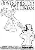 Fantasy kids activity and coloring page with Star Strike and Kaos. In this kids printable sheet for coloring, Kaos is drawn with his arms bent to his sides looking really upset. Kaos is looking almost like a little child that is about to get really really -beep-! The coloring sheet was designed to make it easier for kids to make small mini stories of their own with the Star Strike skylander and Kaos. Skylanders Swap Force colouring sheet for kids with a Star Strike figure drawn somewhat from the side. The Star Strike figure is drawn with a weapon in each hand, holding one diagonally downwards and the other diagonally upwards. Print and color this Skylanders Swap Force STAR STRIKE coloring sheet for kids that is drawn and made available by Loke Hansen (http://www.LokeHansen.com) inspired by a screenshot from the Skylanders Swap Force PS3 game while playing with the Star Strike figure.