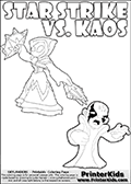 Printable or online coloring page designed with Kaos ( The Skylanders Villain ) and Star Strike on the same colouring sheet. The coloring page printout has Kaos draw as if he is about to attack. He is standing with his mouth open, and his arms arched forward as if he is about to jump someone - or something in a crazed evil attack! This kids coloring page has colorable texts ( STAR STRIKE and KAOS in upper case letters) in addition to the two popular Skylanders Swap Force universe characters. Skylanders Swap Force colouring sheet for kids with a Star Strike figure drawn somewhat from the side. The Star Strike figure is drawn with a weapon in each hand, holding one diagonally downwards and the other diagonally upwards. Print and color this Skylanders Swap Force STAR STRIKE coloring sheet for kids that is drawn and made available by Loke Hansen (http://www.LokeHansen.com) inspired by a screenshot from the Skylanders Swap Force PS3 game while playing with the Star Strike figure.