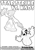 Inspirational adventure kick-starting kids coloring activity page with a scared looking Kaos and the Star Strike Skylander. The Kaos pose is based on one of the ending scenes in the Skylanders Swap Force game where a mountain of dark crystals are about to fall upon Kaos, but what adventure will your young Skylander fan be able to come up with? This printout colouring sheet has colorable text in addition to the two Skylanders figures for coloring! Skylanders Swap Force colouring sheet for kids with a Star Strike figure drawn somewhat from the side. The Star Strike figure is drawn with a weapon in each hand, holding one diagonally downwards and the other diagonally upwards. Print and color this Skylanders Swap Force STAR STRIKE coloring sheet for kids that is drawn and made available by Loke Hansen (http://www.LokeHansen.com) inspired by a screenshot from the Skylanders Swap Force PS3 game while playing with the Star Strike figure.