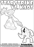 Coloring activity page with Kaos drawn with legs! This kids colouring sheet has a drawing of Kaos with Glumshanks legs as he is shown at te very end of the Skylanders Swap Force Game in a cut scene. The coloring page also show the Star Strike skylander and has colorable texts! Skylanders Swap Force colouring sheet for kids with a Star Strike figure drawn somewhat from the side. The Star Strike figure is drawn with a weapon in each hand, holding one diagonally downwards and the other diagonally upwards. Print and color this Skylanders Swap Force STAR STRIKE coloring sheet for kids that is drawn and made available by Loke Hansen (http://www.LokeHansen.com) inspired by a screenshot from the Skylanders Swap Force PS3 game while playing with the Star Strike figure.