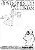 Fantasy kids activity and coloring page with Star Strike and Kaos. In this kids printable sheet for coloring, Kaos is drawn with his arms bent to his sides looking really upset. Kaos is looking almost like a little child that is about to get really really -beep-! The coloring sheet was designed to make it easier for kids to make small mini stories of their own with the Star Strike skylander and Kaos. Skylanders Swap Force kids colorable page  with a Star Strike figure drawn somewhat from the side while attacking with an amazing magical ability. The Star Strike figure is drawn attacking with magical energy shaped as stars, passing though a magical circle and ending in a magical orb. Print and color this Skylanders Swap Force STAR STRIKE coloring sheet for kids that is drawn and made available by Loke Hansen (http://www.LokeHansen.com) inspired by a screenshot from the Skylanders Swap Force PS3 game while playing with the Star Strike figure.