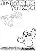Inspirational adventure kick-starting kids coloring activity page with a scared looking Kaos and the Star Strike Skylander. The Kaos pose is based on one of the ending scenes in the Skylanders Swap Force game where a mountain of dark crystals are about to fall upon Kaos, but what adventure will your young Skylander fan be able to come up with? This printout colouring sheet has colorable text in addition to the two Skylanders figures for coloring! Skylanders Swap Force kids colorable page  with a Star Strike figure drawn somewhat from the side while attacking with an amazing magical ability. The Star Strike figure is drawn attacking with magical energy shaped as stars, passing though a magical circle and ending in a magical orb. Print and color this Skylanders Swap Force STAR STRIKE coloring sheet for kids that is drawn and made available by Loke Hansen (http://www.LokeHansen.com) inspired by a screenshot from the Skylanders Swap Force PS3 game while playing with the Star Strike figure.