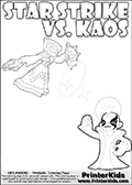 Inspirational coloring activity page with a triumphant looking Kaos and the popular Star Strike skylander figures - and colorable text! Kaos is drawn standing with an arm raised high with his hand formed as a fist. He is looking triumphant, happy or perhaps very confident! Make your own Skylanders adventure and add your story to the printout sheet. Skylanders Swap Force kids colorable page  with a Star Strike figure drawn somewhat from the side while attacking with an amazing magical ability. The Star Strike figure is drawn attacking with magical energy shaped as stars, passing though a magical circle and ending in a magical orb. Print and color this Skylanders Swap Force STAR STRIKE coloring sheet for kids that is drawn and made available by Loke Hansen (http://www.LokeHansen.com) inspired by a screenshot from the Skylanders Swap Force PS3 game while playing with the Star Strike figure.