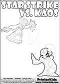 Activity page with Kaos and Star Strike from Skylanders Swap Force. In this kids coloring page with colorable text and figures, Kaos is drawn with one hand out in front of him as if gesturing to Star Strike - BRING IT ON! Skylanders Swap Force kids colorable page  with a Star Strike figure drawn somewhat from the side while attacking with an amazing magical ability. The Star Strike figure is drawn attacking with magical energy shaped as stars, passing though a magical circle and ending in a magical orb. Print and color this Skylanders Swap Force STAR STRIKE coloring sheet for kids that is drawn and made available by Loke Hansen (http://www.LokeHansen.com) inspired by a screenshot from the Skylanders Swap Force PS3 game while playing with the Star Strike figure.
