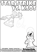 Activity page for kids with coloring figures and letters. Kaos is drawn almost sneaking away from the scene in this colouring sheet with Star Strike. But why? Draw the rest of the story if you are up for the challenge! Skylanders Swap Force kids colorable page  with a Star Strike figure drawn somewhat from the side while attacking with an amazing magical ability. The Star Strike figure is drawn attacking with magical energy shaped as stars, passing though a magical circle and ending in a magical orb. Print and color this Skylanders Swap Force STAR STRIKE coloring sheet for kids that is drawn and made available by Loke Hansen (http://www.LokeHansen.com) inspired by a screenshot from the Skylanders Swap Force PS3 game while playing with the Star Strike figure.
