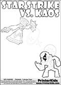 Coloring activity page with Kaos drawn with legs! This kids colouring sheet has a drawing of Kaos with Glumshanks legs as he is shown at te very end of the Skylanders Swap Force Game in a cut scene. The coloring page also show the Star Strike skylander and has colorable texts! Skylanders Swap Force kids colorable page  with a Star Strike figure drawn somewhat from the side while attacking with an amazing magical ability. The Star Strike figure is drawn attacking with magical energy shaped as stars, passing though a magical circle and ending in a magical orb. Print and color this Skylanders Swap Force STAR STRIKE coloring sheet for kids that is drawn and made available by Loke Hansen (http://www.LokeHansen.com) inspired by a screenshot from the Skylanders Swap Force PS3 game while playing with the Star Strike figure.