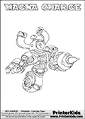 Coloring page with MAGNA CHARGE from Skylanders Swap Force. Skylanders Swap Force is a unique multi-platform game where characters can be combined into even more characters. The Skylanders character in this coloring print - MAGNA CHARGE is a standard character and has no parts from other Skylanders characters. It can however replace either the upper or lower body with that of another Skylanders character. This coloring page for printing show the Skylander in full. Print and color this Skylanders Swap Force MAGNA CHARGE page that is drawn by Loke Hansen (http://www.LokeHansen.com) based on the original artwork of the Skylanders characters.