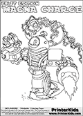 Printable or online colorable Skylanders Swap Force coloring page with the original swappable character MAGNA CHARGE. MAGNA CHARGE is a Skylander that can be bought and combined with other swappable Skylanders - the two parts MAGNA and CHARGE are in the same figure box! The colouring page is drawn with a super thin line that has a shadow applied to it. This make the stroke easier to see while maintaining the majority of the colorable areas. The printable coloring page also have the skylander name as colorable text. Print and color this Skylanders Swap Force MAGNA CHARGE coloring print page that is drawn and made available by Loke Hansen (http://www.LokeHansen.com) based on the original artwork of the Skylanders characters from the Skylanders Swap Force website.
