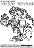 Printable or online colorable Skylanders Swap Force coloring page with the original swappable character MAGNA CHARGE. MAGNA CHARGE is a Skylander that can be bought and combined with other swappable Skylanders - the two parts MAGNA and CHARGE are in the same figure box! The colouring page is drawn with a thick line. This make the coloring page ideal for the youngest fans. The printable coloring page also have the skylander name as colorable text. Print and color this Skylanders Swap Force MAGNA CHARGE coloring print page that is drawn and made available by Loke Hansen (http://www.LokeHansen.com) based on the original artwork of the Skylanders characters from the Skylanders Swap Force website.