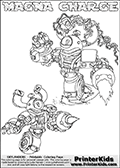 Printable or online colorable Skylanders Swap Force coloring page with two colorable variants of  the original swappable character MAGNA CHARGE. MAGNA CHARGE is a Skylander that can be bought and combined with other swappable Skylanders - the two parts MAGNA and CHARGE are in the same figure box! The colouring page is drawn with a super thin line that has a shadow applied to it. This make the stroke easier to see while maintaining the majority of the colorable areas. The printable coloring page also have the skylander name as colorable text. Print and color this Skylanders Swap Force MAGNA CHARGE coloring print page that is drawn and made available by Loke Hansen (http://www.LokeHansen.com) based on the original artwork of the Skylanders characters from the Skylanders Swap Force website.